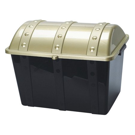 Plastic Pirate Treasure Chest, 19 1/2 long, 13 1/2 wide and 14 tall Made of plastic Gold lid with black bottom By U.S. Toy - Pirate Chest Toy Box