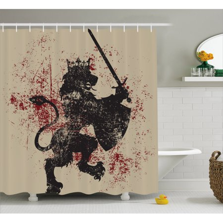 King Shower Curtain, Lion Symbol of Courage with Sword Armor and Shield on Grunge Backdrop, Fabric Bathroom Set with Hooks, 69W X 70L Inches, Black White and Burgundy, by Ambesonne (Lion And Shield)