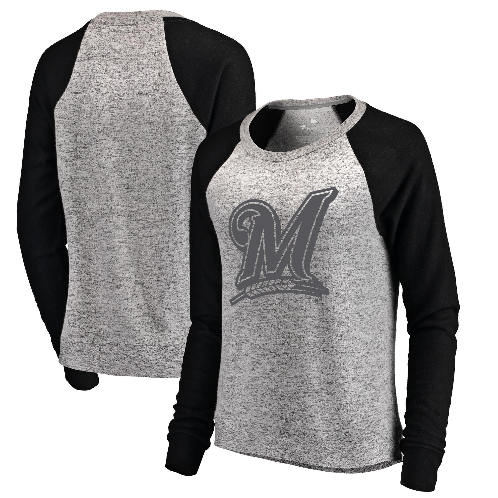Milwaukee Brewers Let Loose by RNL Women's Cozy Collection Plush Raglan Tri-Blend Sweatshirt - Ash