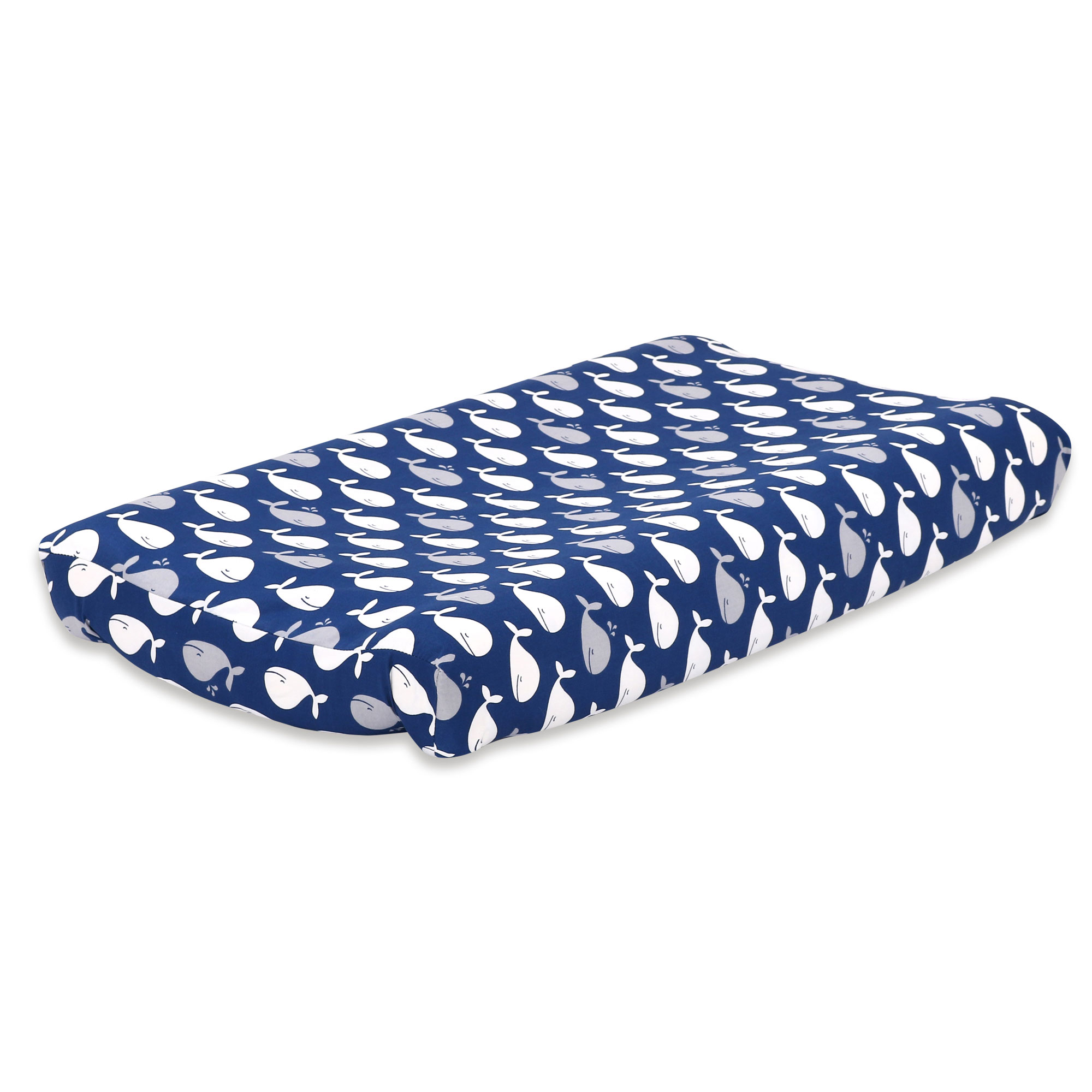 The Peanut Shell Baby Contoured Changing Pad Cover - Navy Blue Nautical Design with Whales - 100% Cotton Sateen Fabrics, Fits 32 by 16 Inch Pads