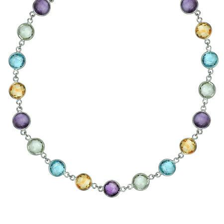 Amethyst, Topaz, and Citrine Multi-Gemstone Bezel Set Necklace in Sterling Silver (45 Carat), 18