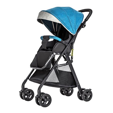 Stroller Green Bubbles - Baby Stroller High View Pram One Step Fold Lightweight Convertible Baby Carriage with Multi-Positon Reclining Seat Extended Canopy for Infant Toddler