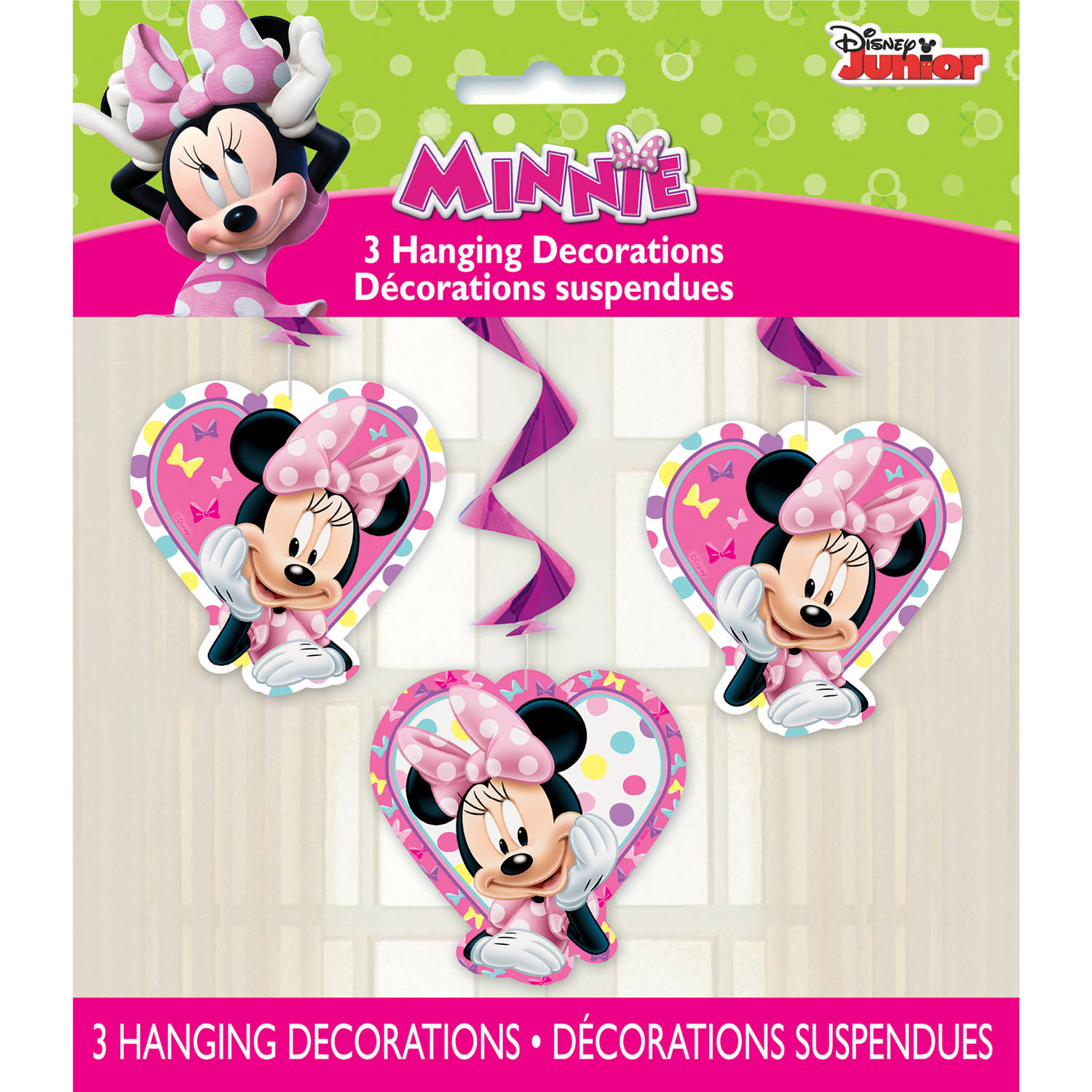 """26"""" Disney Minnie Mouse Bowtique Hanging Swirl Decorations, 3ct"""