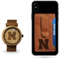 Nebraska Cornhuskers Sparo Wood Watch and Phone Wallet Gift Set - No Size