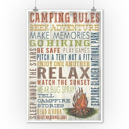 Explore Glacier National Park, Montana - Camping Rules - Rustic - Lantern Press Artwork (9x12 Art Print, Wall Decor Travel (Best National Parks In Montana)