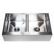 eModern Decor Ariel 36'' L x 21'' W Stainless Steel 50/50 Double Bowl Farmhouse Kitchen Sink