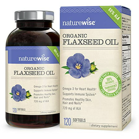 NatureWise Organic Flaxseed Oil 1200mg Softgels, 120 Ct ()