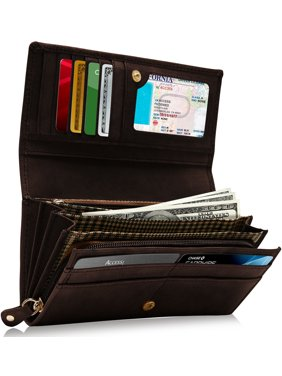 Product Image Genuine Leather Wallets For Women - Embossed Floral Ladies Accordion Clutch RFID Wallet With ID Window
