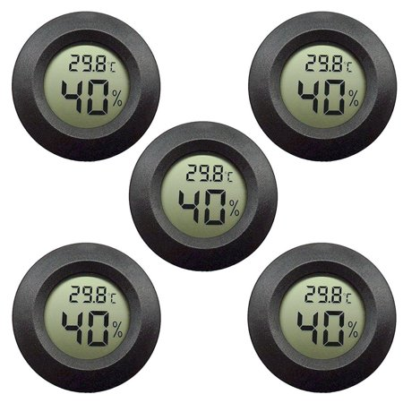 5-pack Hygrometer Thermometer Digital LCD Monitor Indoor Outdoor Humidity Meter Gauge for Humidifiers Dehumidifiers Greenhouse Basement Babyroom, Black