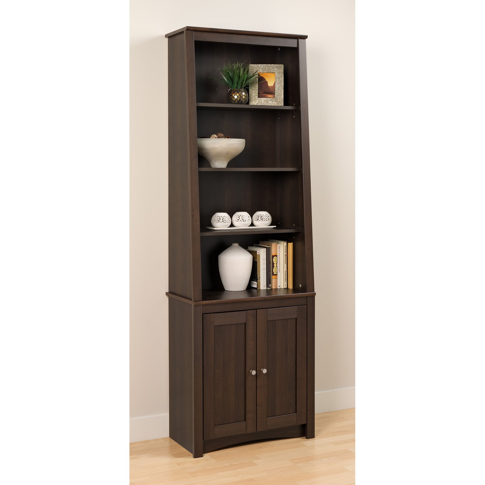 Prepac 6-Shelf Slant Back Bookcase with Doors, Espresso by Prepac Manufacturing Ltd