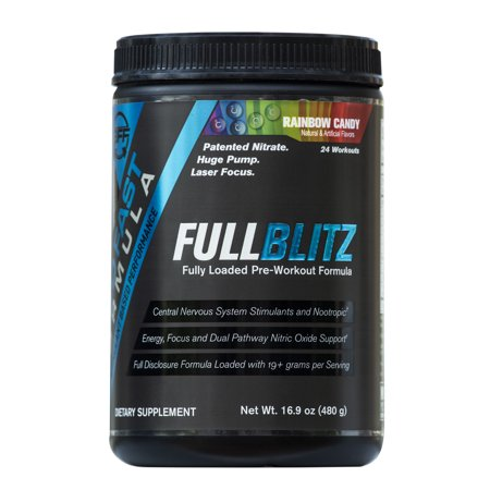 FULLBLITZ by Build Fast Formula | Fully Loaded Pre Workout | Energy Booster plus Nootropic Preworkout Blend | Nitric Oxide Boosting Supplement for Increased Energy, Focus, and Muscle