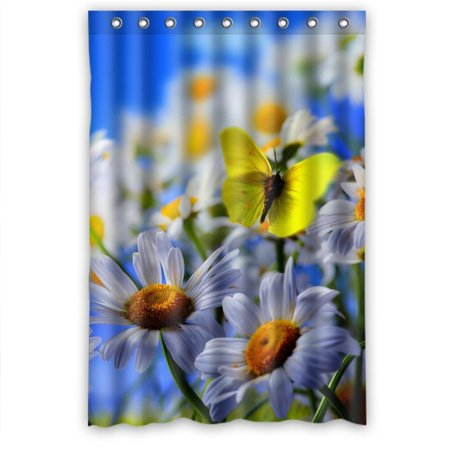 GreenDecor White Daisy Cosmoc Butterfly Waterproof Shower Curtain Set With Hooks Bathroom Accessories Size 48x72 Inches