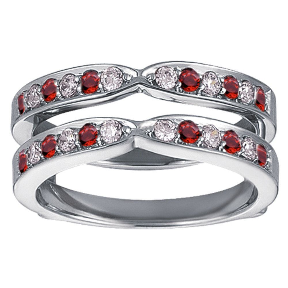 Genuine Ruby Mounted In Sterling Silver X Style Channel Set Jacket Ring Guard (0.36ctw) by TwoBirch