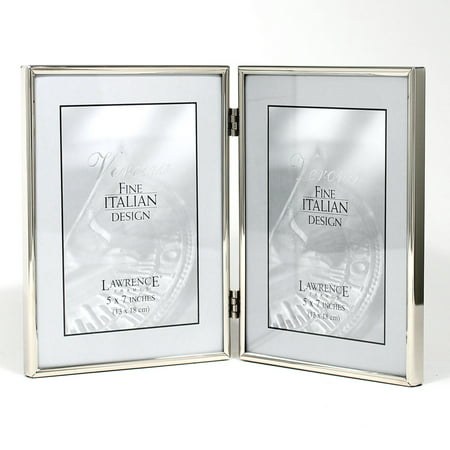 5x7 Hinged Double Simply Silver Metal Picture