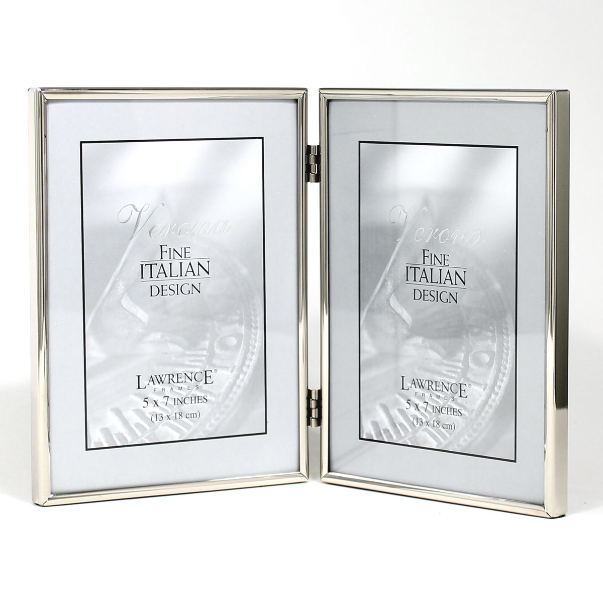 5x7 Hinged Double Simply Silver Metal Picture Frame