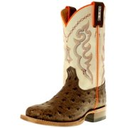 Cinch Western Boots Boys Full Quill Ostrich Print Brown White KCY119