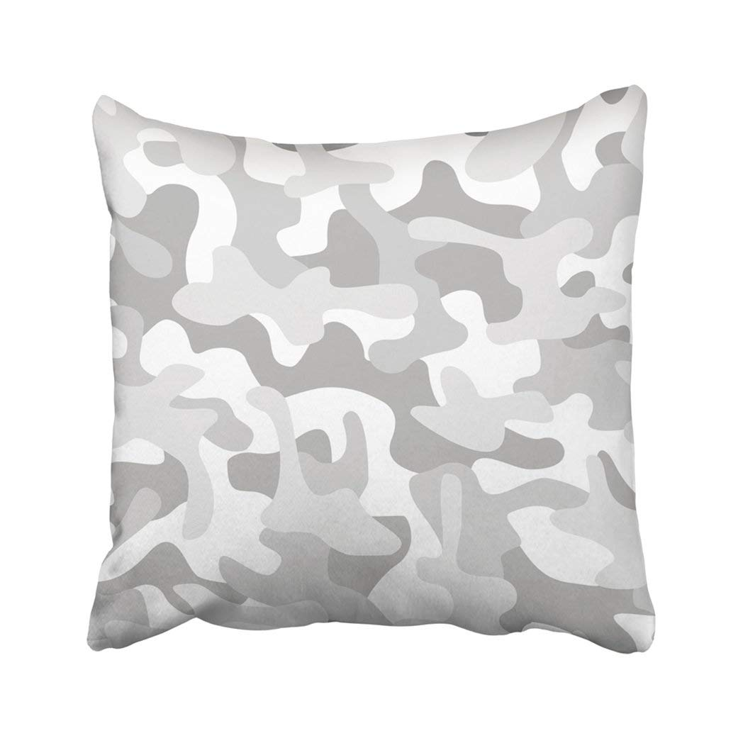WOPOP Navy Camo Camouflage Modern Abstract Military White Snow Grey Army Soldier Winter Combat Pillowcase Throw Pillow Cover Case 18x18 inches