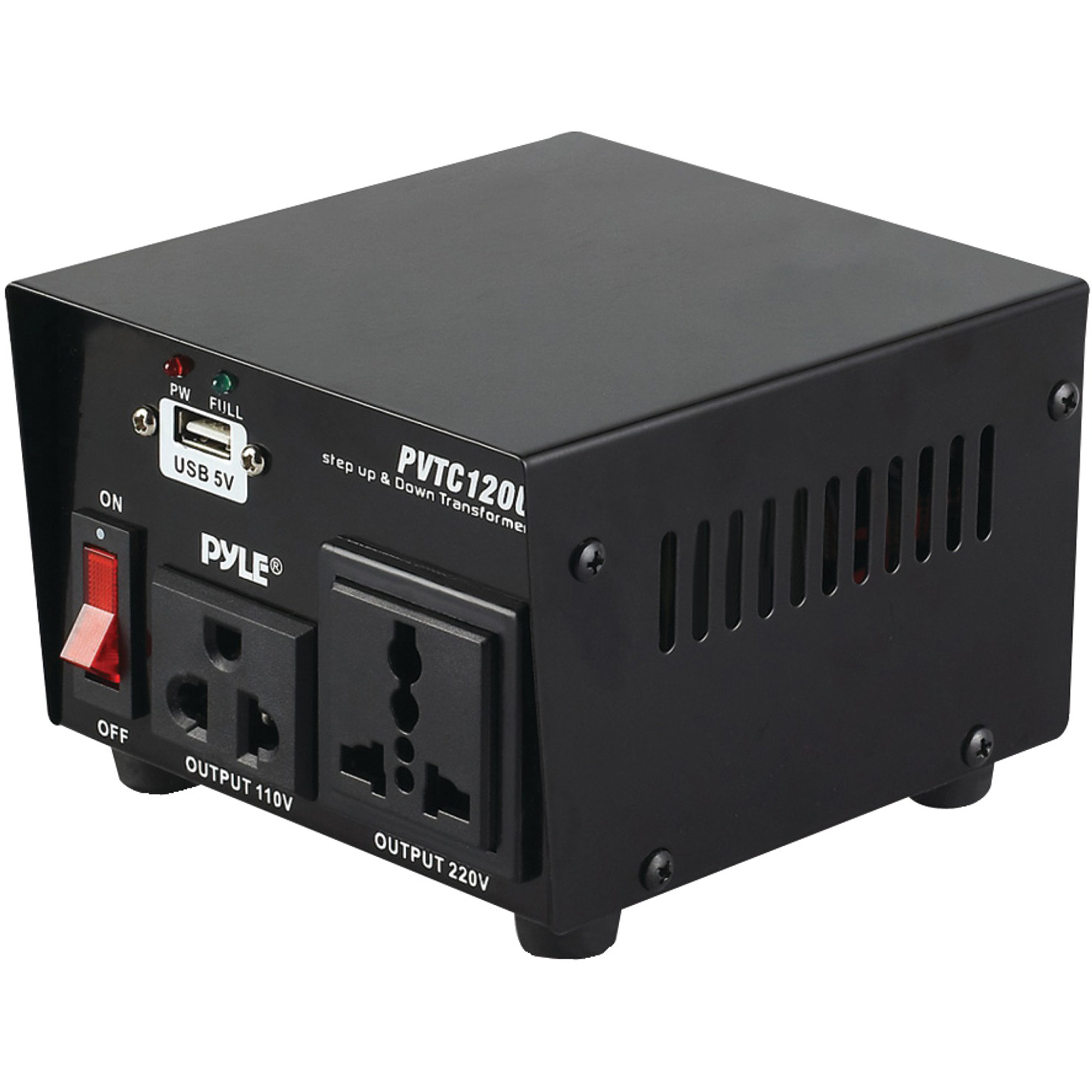 Pyle-meters PVTC120U Step Up and Step Down Voltage Converter Transformer with USB Charging Port