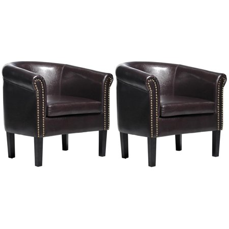 HOMCOM Nailhead Faux Leather Tub / Barrel Club Arm Chair - Brown - 2 PACK