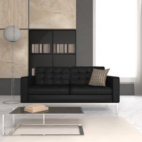 LeisureMod Modern Florence Style Tufted Loveseat in Black Leather
