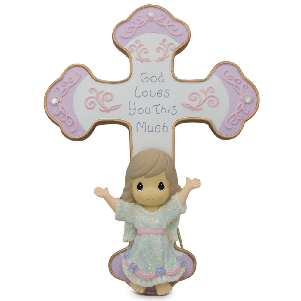 "7.5"" ""God Loves You"" Guardian Angel Religious Wall or Standing Cross"