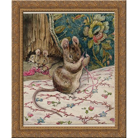 The Mice at Work.Threading the Needle 20x20 Gold Ornate Wood Framed Canvas Art by Potter, (The Cowsills Silver Threads And Golden Needles)