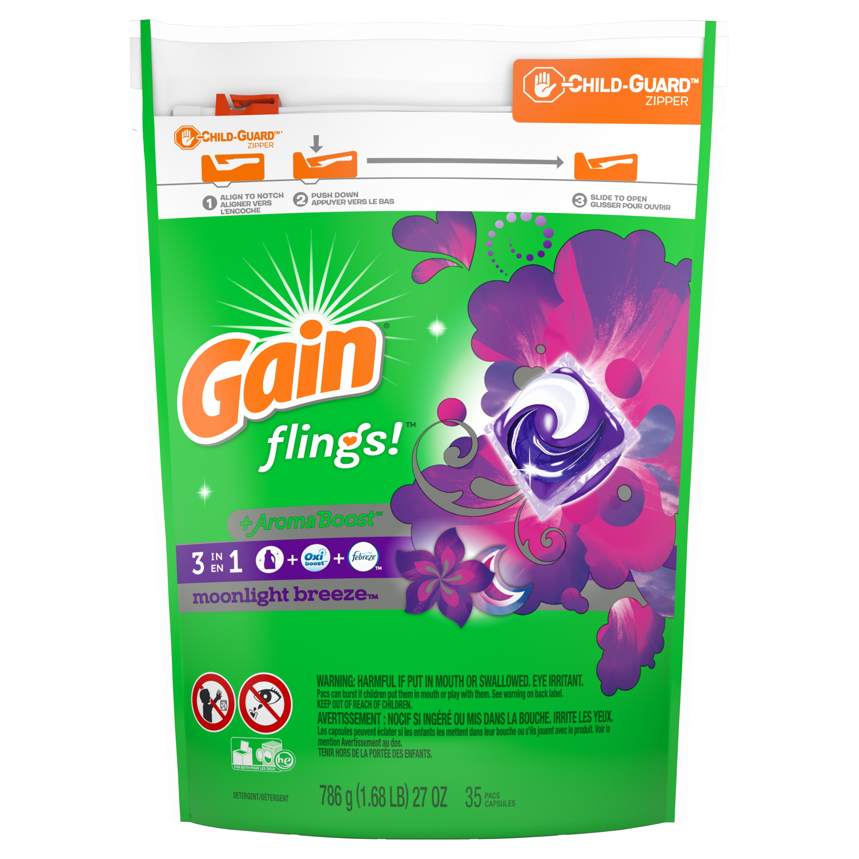 Gain flings! + Aroma Boost Laundry Detergent Pacs, Moonlight Breeze, 35 Count
