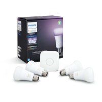 Philips Hue White and Color Ambiance A19 Smart Light Starter Kit, 60W LED, 4-Pack