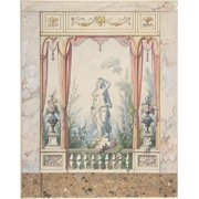 Design for an Interior with a Window into a Garden Poster Print by Anonymous  Italian  early 19th century (18 x 24)