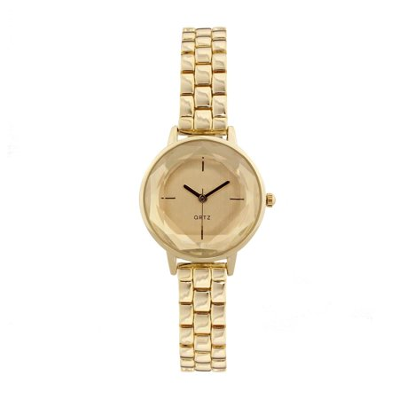 Covet  Women's 'Lola' Cut Crystal Silver Tone Bracelet Quartz Watch Gold-Tone At Cut Quartz Crystal