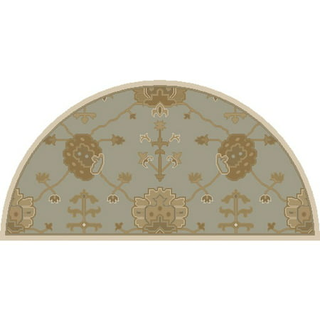 2' x 4' Grecian Arms Olive Green, Ivory and Beige Hearth Area Throw Rug ()