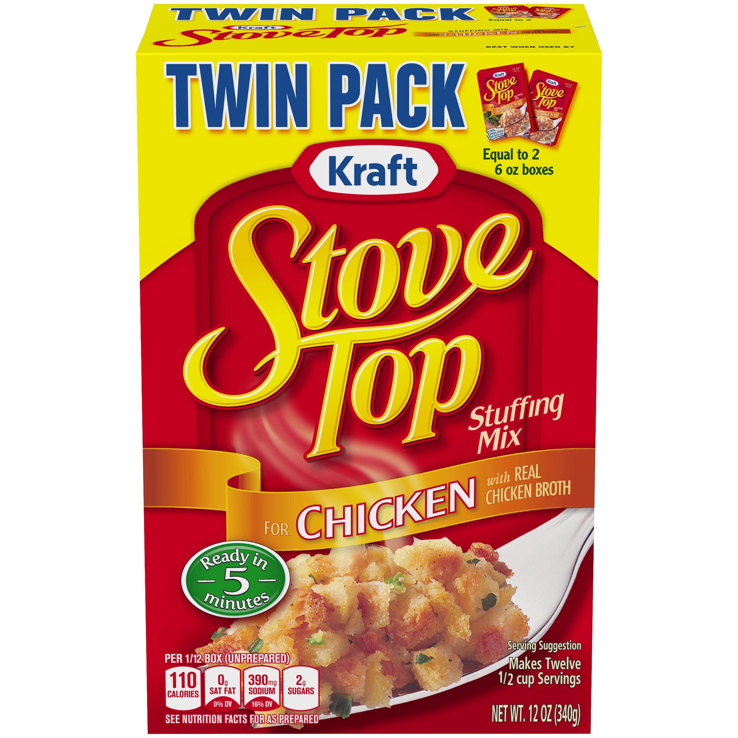 Kraft Stove Top Twin Pack Stuffing Mix for Chicken 12 oz. Box
