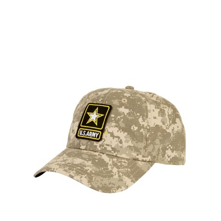 Digital Camo Ripstop Curved Bill Cap With U.S. Army Patch and Adjustable Snapback Closure
