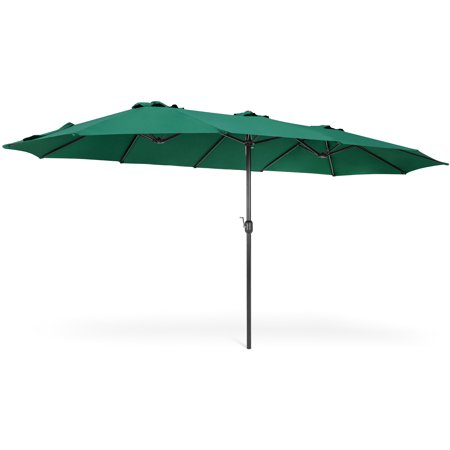 Best Choice Products 15x9ft Large Rectangular Outdoor Aluminum Twin Patio Market Umbrella w/ Crank, Wind Vents for Backyard, Patio, Lawn - Green](U Is For Umbrella)