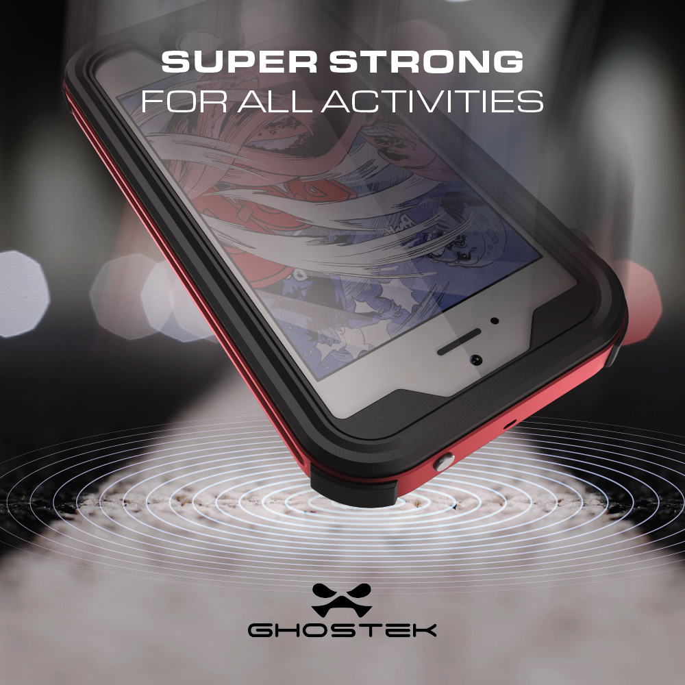 new photos 20657 b3b2d Ghostek Atomic 3 - Protective waterproof case for cell phone - rubber,  aluminum alloy - silver - for Apple iPhone 5, 5s, SE