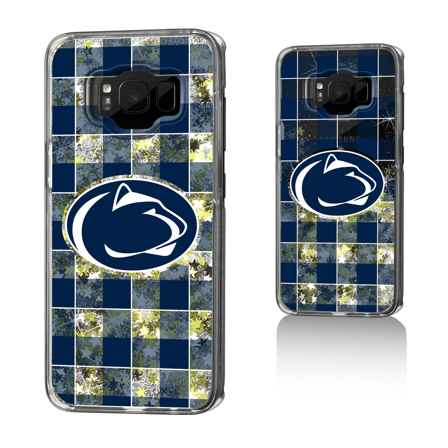 PSU Penn State Nittany Lions Plaid Glitter Case for Galaxy S8