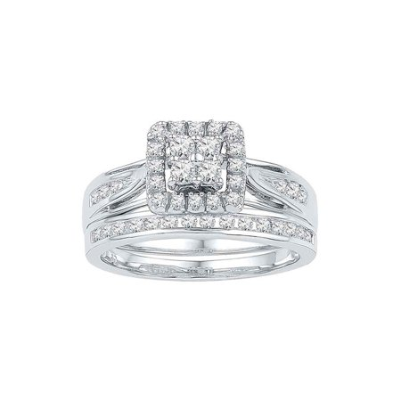 - 10kt White Gold Womens Diamond Square Cluster Bridal Wedding Engagement Ring Band Set 1/4 Cttw