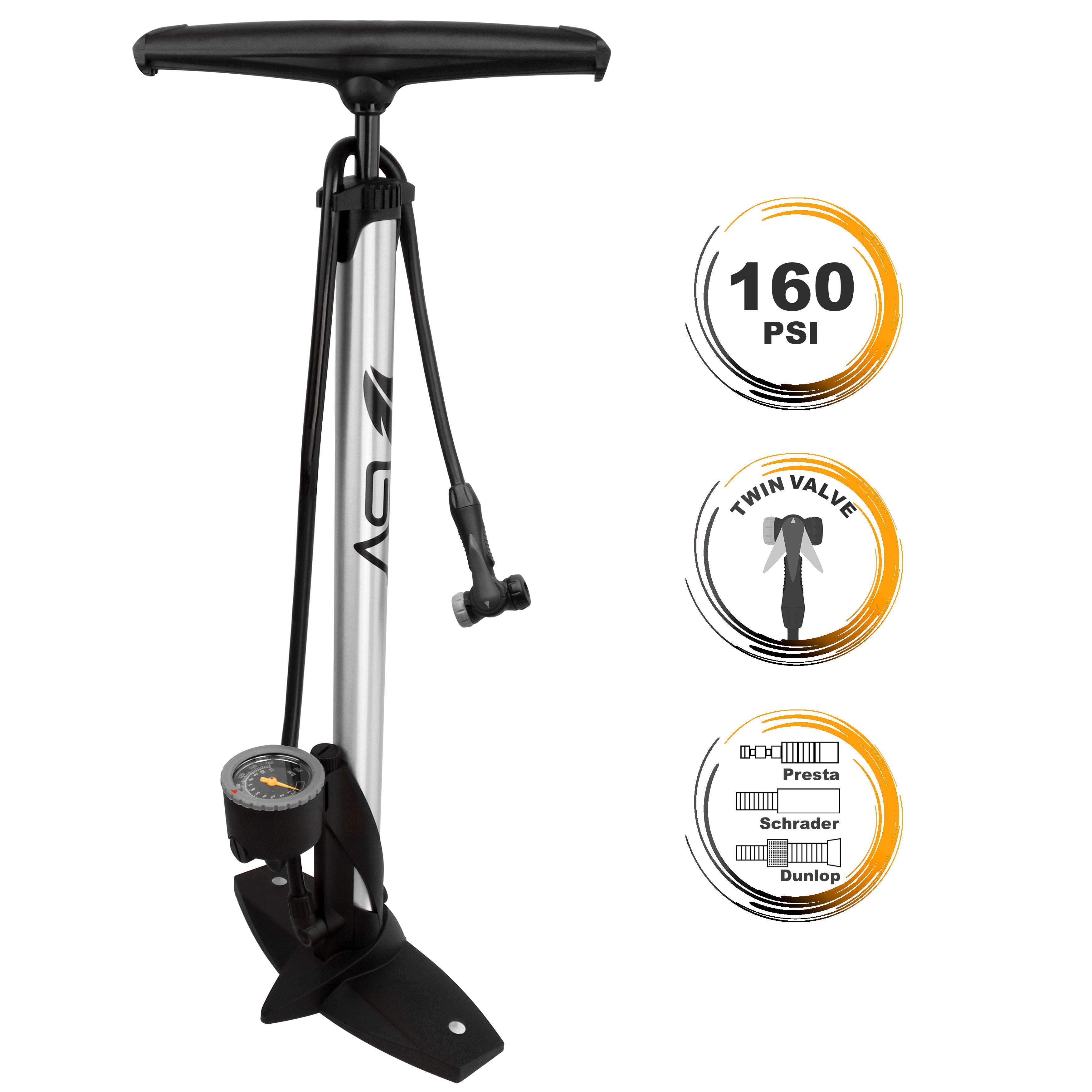 Bicycle Ergonomic Floor Pump W Gauge /& Clever Air Valve 160 Psi Reversible Prest