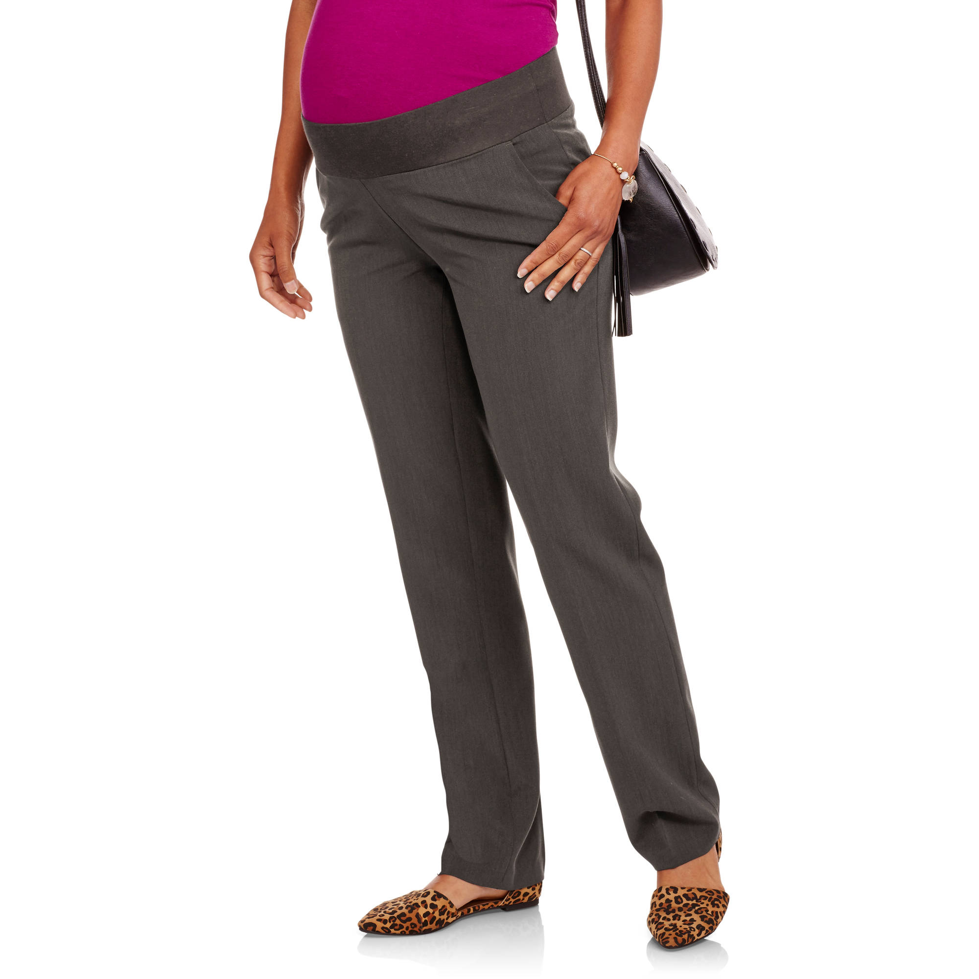 Oh! Mamma Maternity Demi-Panel Straight-Leg Career Pants with Side Pockets
