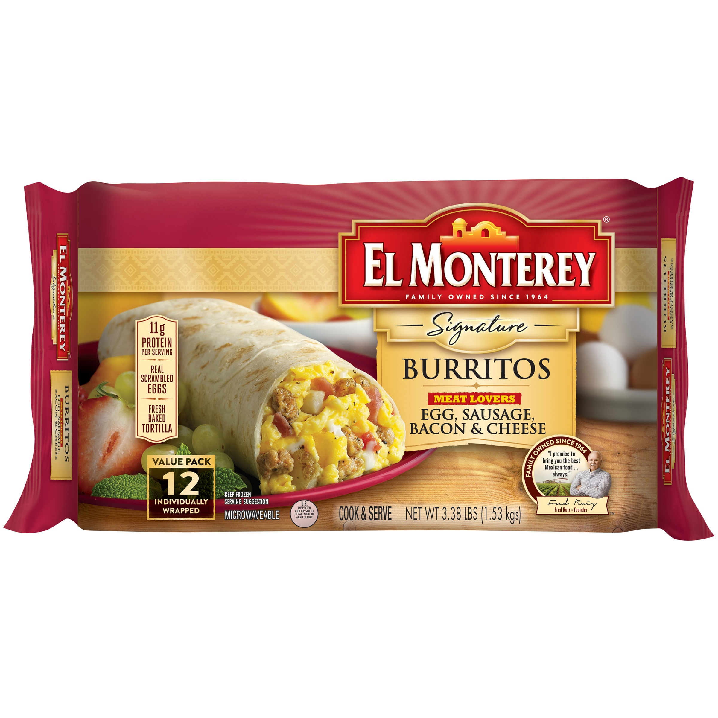 El Monterey® Signature Meat Lovers Egg, Sausage, Bacon & Cheese Burrito 12 ct Bag