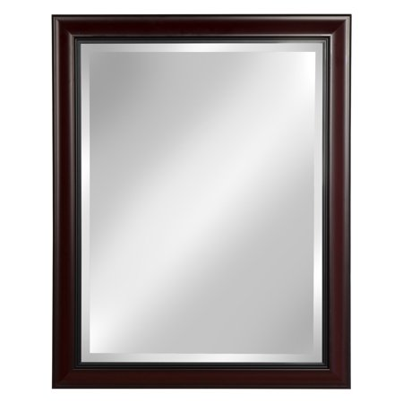 DesignOvation Dalat Cherry Framed Wall Vanity Beveled Mirror