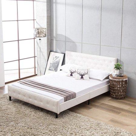 Bed Frame Metal Mecor Button Tufted Upholstered Platform Full Size ...