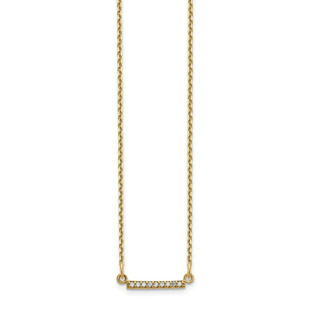 Solid 14k Yellow Gold Diamond Tiny Bar Necklace Chain 18