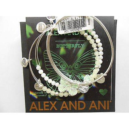 Alex And Ani Butterfly Set Of 3 Rafaelian Silver Bangle Bracelet