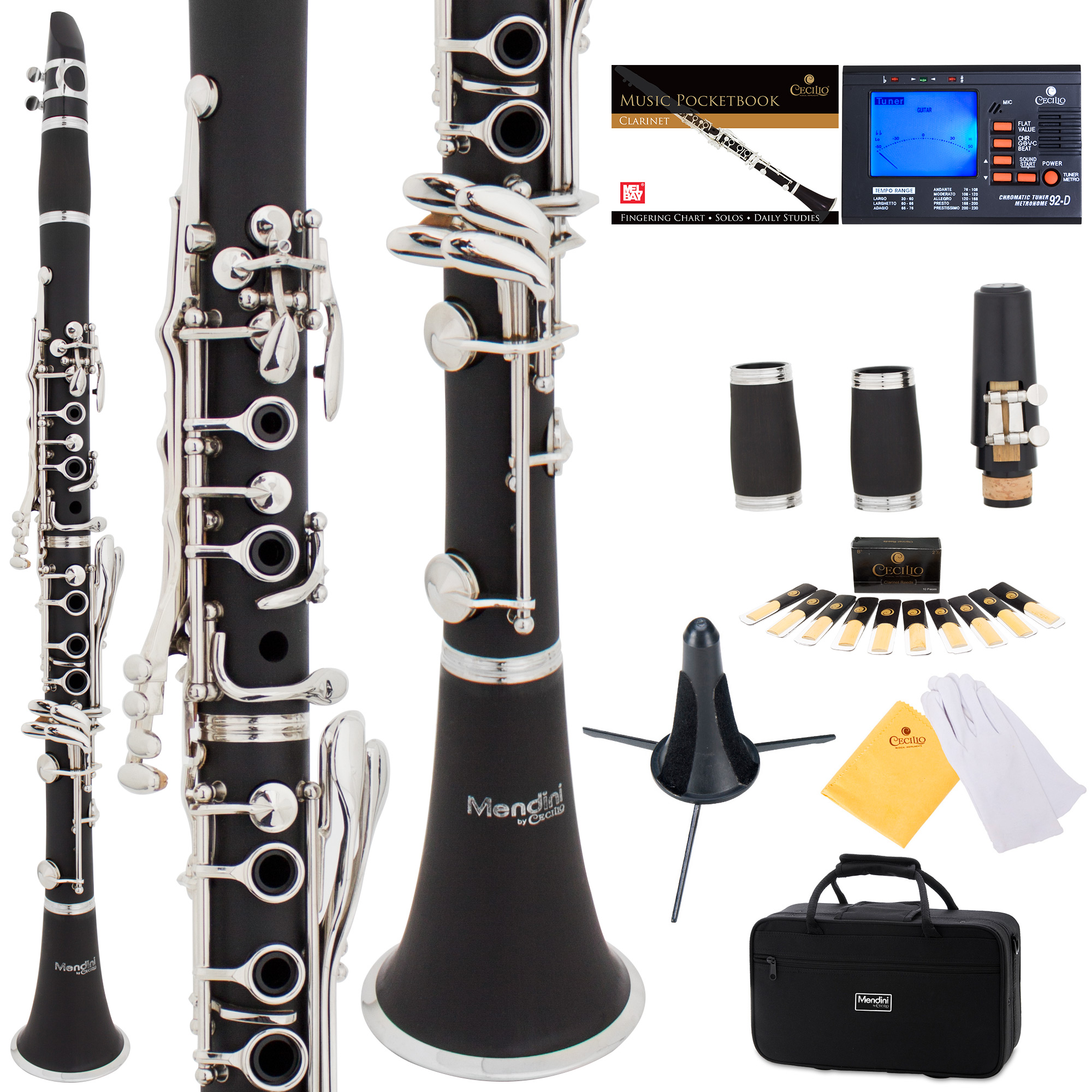 Mendini by Cecilio MCT-JE2 Black Ebonite Bb Clarinet w/ 2 Barrels, 1 Year Warranty, Stand, Tuner, 10 Reeds, Pocketbook, Mouthpiece, Case, B Flat
