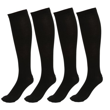 4 Pairs Knee High Graduated Compression Socks for Men & Women - BEST Stockings for Running, Medical, Athletic, Diabetic, Swelling, Varicose Veins, Travel, Pregnancy, Shin Splints,