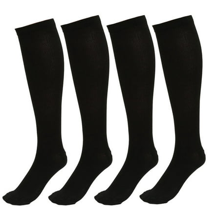 4 Pairs Knee High Graduated Compression Socks for Men & Women - BEST Stockings for Running, Medical, Athletic, Diabetic, Swelling, Varicose Veins, Travel, Pregnancy, Shin Splints, (Best Remedy For Varicose Veins)