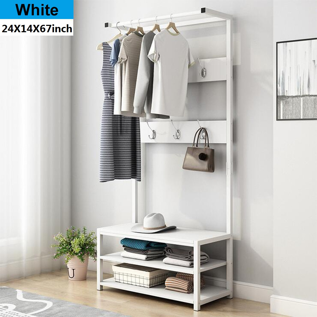 24inch X 67inch Industrial Coat Rack Shoe Bench Hall Tree Entryway Storage Shelf Wood Look Accent Furniture With Metal Frame 3 In 1 Design Easy Assembly Walmart Com Walmart Com