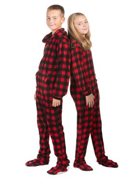 Hoodie Footed one piece Buffalo Plaid Fleece Footed Pajamas for Boys & Girls