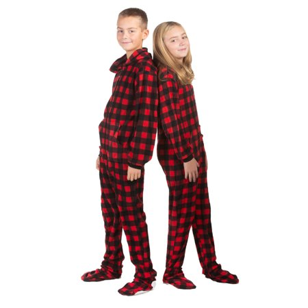 Buffalo Girl - Hoodie Footed one piece Buffalo Plaid Fleece Footed Pajamas for Boys & Girls